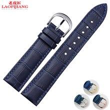 Laopijiang18 20 MM deep blue banda de reloj del cuero con fit hombres y mujeres reloj del cuero genuino