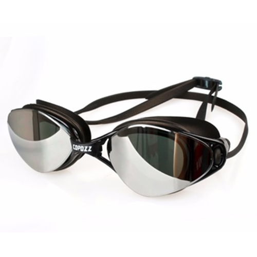 Copozz Plating Mirrored Swimming Waterproof Glasses for Adults Sport anti uv fog Protection Swim Goggles(black)