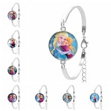 2019 New Cartoon Princess Round Image Glass Dome Girl Bracelet Charm Embossed Gift