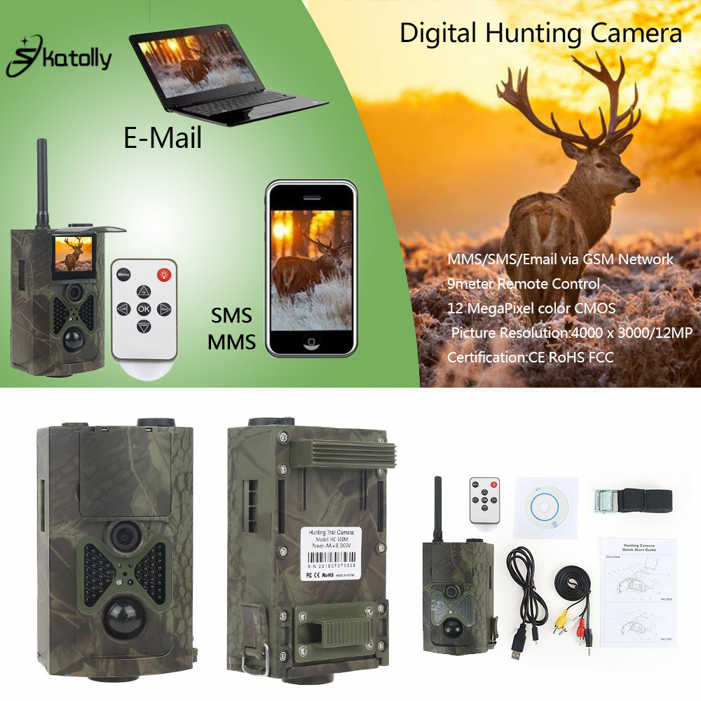 Skatolly HC-500M Digital Infrared Hunting Trail Camera mms 12MP 1080P Video Night Vision Wildlife Photo Traps gsm hunting cam 12mp trail camera gsm mms gprs sms scouting infrared wildlife hunting camera hd digital infrared hunting camera