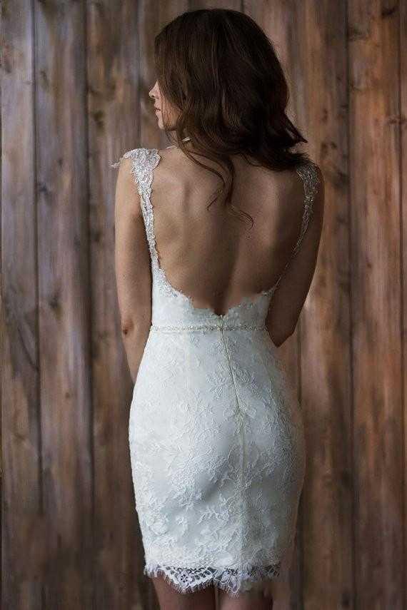 שמלת כלה שרוול כובע 2 Piece קצרים קדמי ארוך בחזרה נתיקה חצאית חוף שמלות הכלה Vestido de Novia