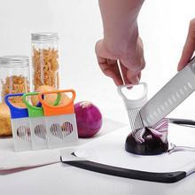 Лукорезка Нержавеющая сталь помидор лук, овощ режущего держатель для помощи руководство приспособление для нарезки игла для мяса Кухня безопасная вилка
