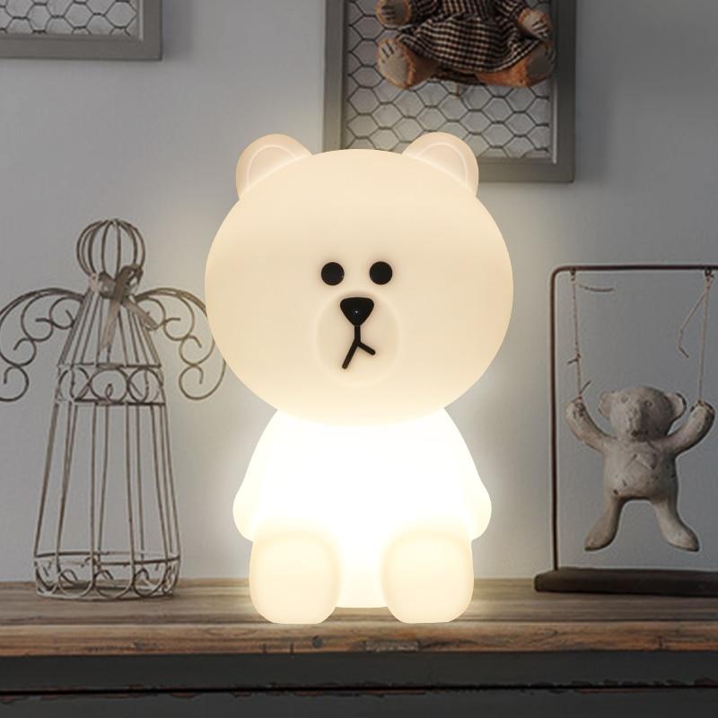 Brown Bear LED Night Light Rechargeable Children Bedroom Night Lamp for Baby Kids Gift EU US
