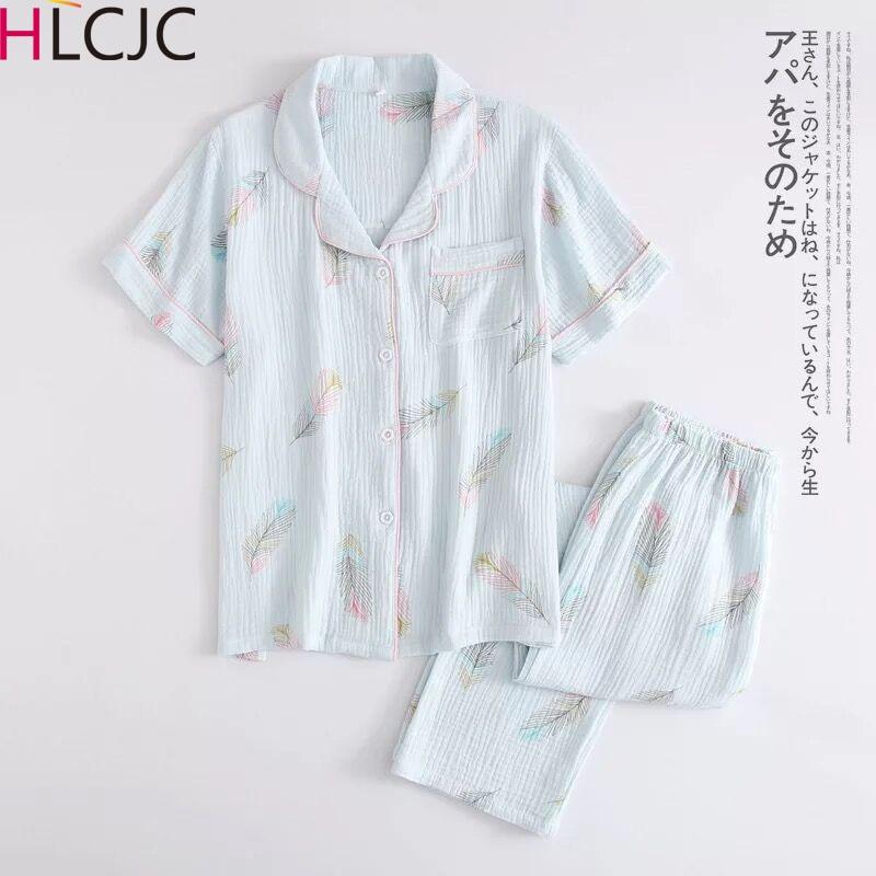 New Cotton Crepe Short Sleeve Long Pants Pajamas For Women Turn-down Collar Feather Print Full Length Pajama Set  Home Pijama