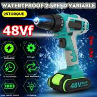 48V Dual Speed Brushless Cordless Electric Impact Drill Hammer Screwdriver LED Lighting