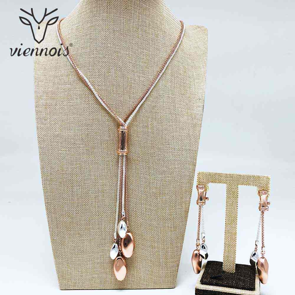 Viennois Rose Gold & Gold Color Dangle Earrings Long Pendent Necklace Set For Women Metal Party Jewelry Set