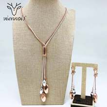 Viennois Rose Gold & Color Dangle Earrings Long Pendent Necklace Set For Women Metal Party Jewelry