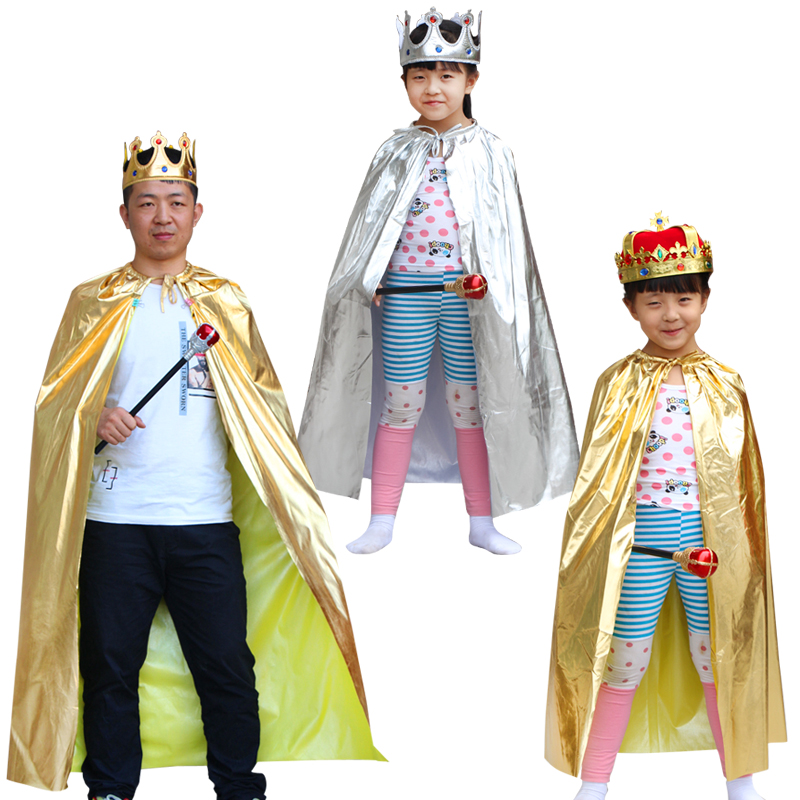 Halloween Holiday The king Prince Cloak Kids Boys  Adults King Cape Cosplay Costume Accessories Halloween Party Dress Supplies