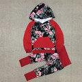 Bebê Meninas Outono Hoodies Conjuntos de Roupas Da Menina do Algodão Casaco de Inverno + Calças 2 Pcs Set da Menina Floral Moletom Definidos Camisola menina 25E