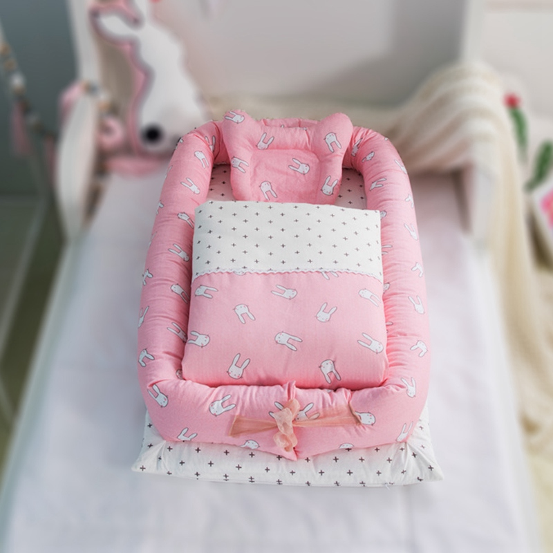Portable Baby Travel Bed with Bumper Cot Mattress Baby Crib Infant Toddler Cradle Portable Baby Cot