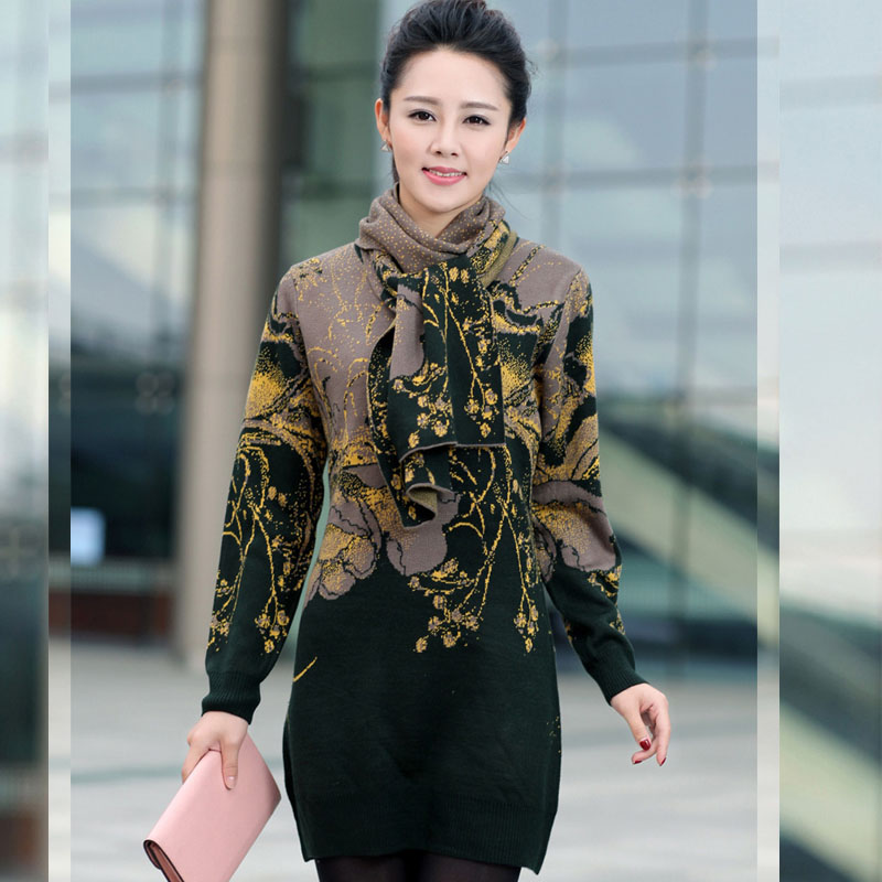 New Womens Autumn and Winter Wool Sweater Dress Knit Bottoming Middle-aged Mother Dress Long Women Sweater With Scarf