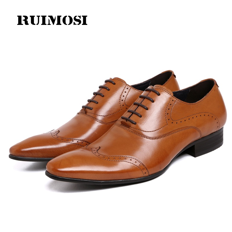 RUIMOSI Luxury Italian Man Wing Tip Brogue Shoes Genuine Leather Bridal Oxfords Pointed Toe Men's Dress Flats For Wedding VK91