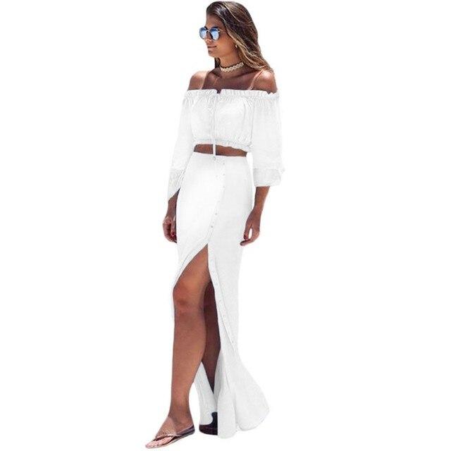 2 Шт. женский клуб сексуальная юбка и блузка устанавливает 2016 осень черный белый с плеча растениеводство топ и юбка установить макси длинной щелью A63010