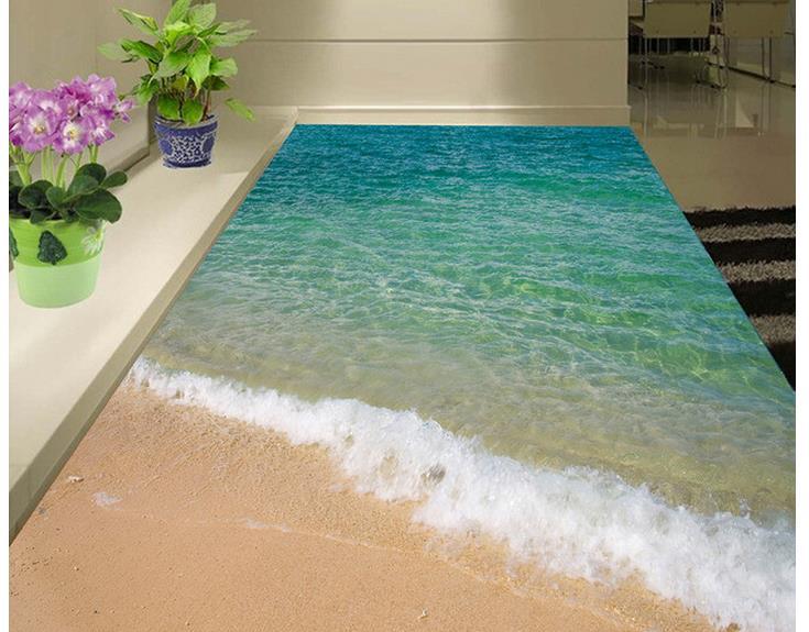 3d Floor Painting Wallpaper Seaside Beach Ocean Waves 3d Floor Painting Pvc Floor Wallpaper 3d Flooring