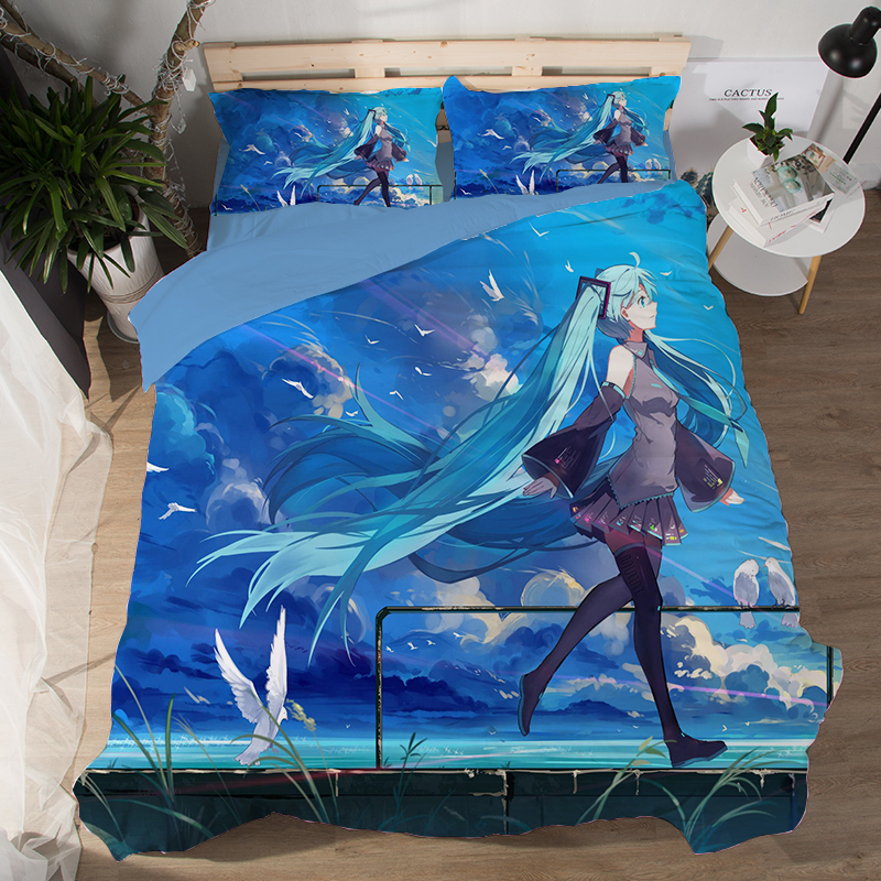 Japanese Anime Magical Mirai Hatsune Miku Bedding Set Bedcover Pillow Case 3/4PCS girls duvet cover sets cartoon blue bedclothesJapanese Anime Magical Mirai Hatsune Miku Bedding Set Bedcover Pillow Case 3/4PCS girls duvet cover sets cartoon blue bedclothes