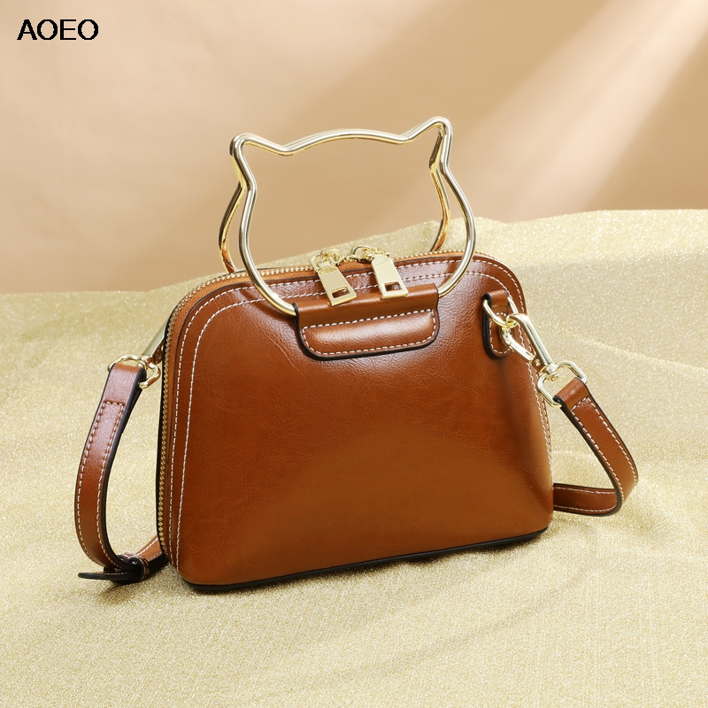 AOEO Women Shoulder Bag Kawaii Split Leather Handbags With Cat Handle Cute Design Ladies Small Messenger