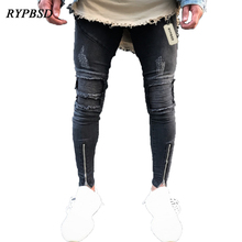 2017 Fashion Streetwear Hip Hop Jeans Zipper Hole Destroyed Skinny Ripped Jeans for Men Black Pleated Moto Biker Pants Designer
