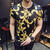 2018 Summer gold club flower tshirt baroque punk rock t shirt men tee shirt homme 3d polera hombre short sleeve tencil top