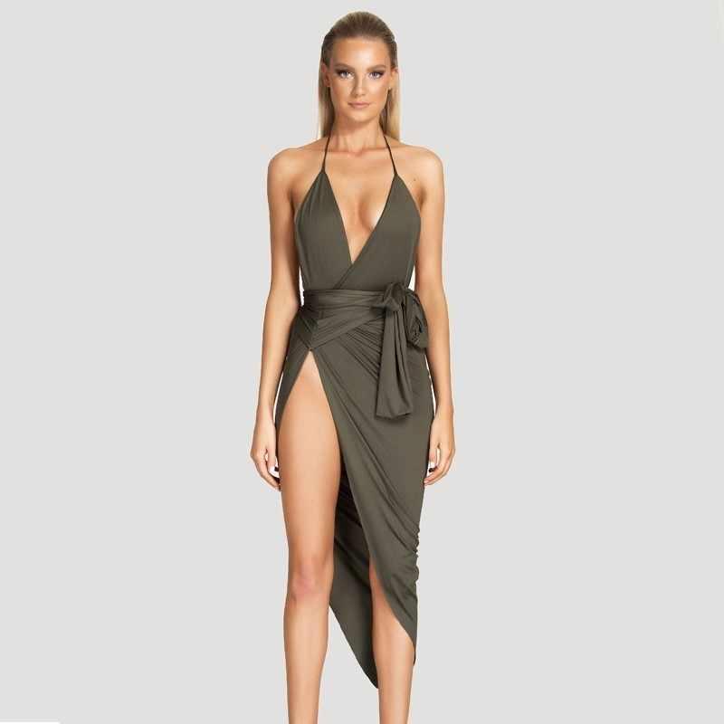 d4cb3680d1958 2017 Happy New Year Sexy Bodycon Dress Spaghetti Strap V neck Women Bandage  Dress Elegant Side Split Black Dresses