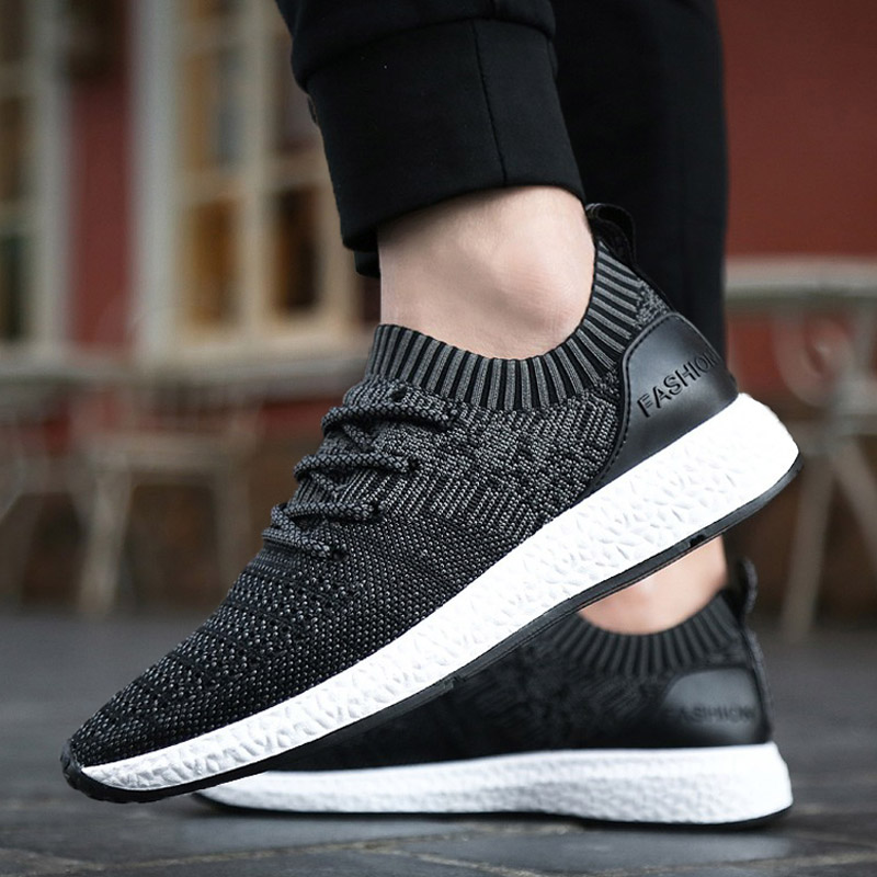 High quality mens shoe2018 Spring Tide Flying Shoes Fabric Increased Comfort Anti-skid Breathable Mesh Shoes Mens Casual Shoes