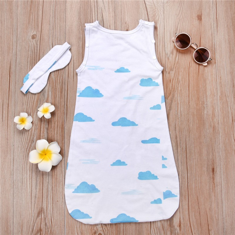 Newborn Baby Kids Clouds Printing Blanket Swaddle Sleeping Bag Stroller Wrap Blue