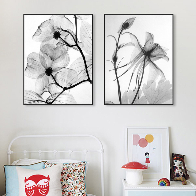 Modern Minimalist Black White Plant Flower Painting Art Prints Poster Wall Picture Abstract Canvas Painting No Frame Home Decor