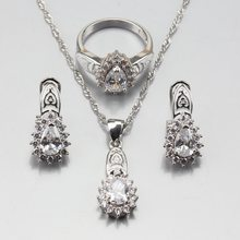 Manny Trinket Attractive Jewelry Sets 7-Color White Zircon 925 Sterling Silver Earrings Pendant Necklace Ring Size 6/7/8/9/10(China)