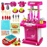 1set Portable Electronic Children's Miniature Kitchen Cooking Girl Games Play Food Toy Set Cooker Brinquedos Menina juguetes
