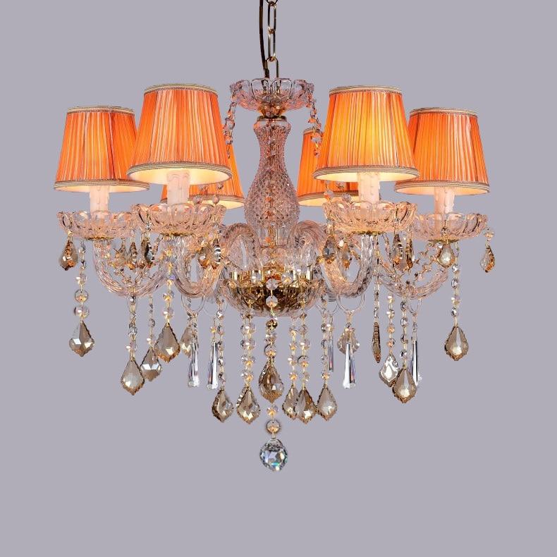 Colored wedding luminaria Bedroom cognac crystal chandelier Lustres de cristal baby room dressing room crystal light chandeliers