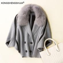 Фотография mink cashmere fur collar bat sleeve open stitch autumn winter coat  9036