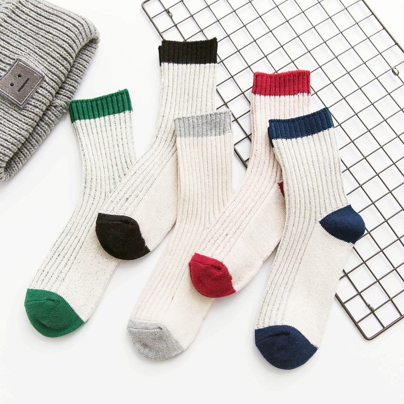 Japanese Vintage Men Women Solid Color Knitted Sock Winter Autumn Retro Stripe Warm Thick Lovers Cotton Socks