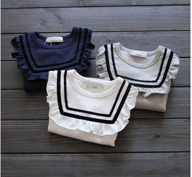2016 Spring and Autumn new style children's clothing  Kids Girls long-sleeved T-shirt collar flounced blouse Wawa Shan