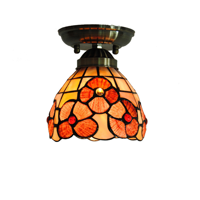 5 Mediterranean Tiffany Flower Hanging Lights Vintage Stained Glass Shell Bar Cafe Hallway Ceiling Lamp Fixtures Lighting CL254 tiffany mediterranean style natural shell pendant lights art creative stained glass night light bar balcony home lighting pl657