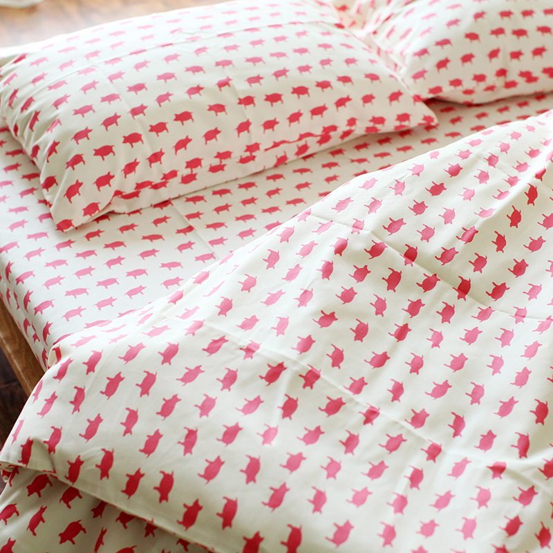 Nice Online Shop 100% Cotton Japan Style Pink Pig Reactive Printing Bedding Sets  Thicken Printed Duvet Cover Set Without Comforter Bedclothes | Aliexpress  Mobile