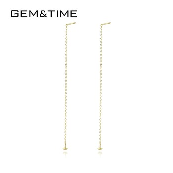 Gem&Time Solid 18K Gold Long Tassel Drop Earrings for Women Wedding Engagement Fine Jewelry Yellow Gold Pendientes AU750 GE0011
