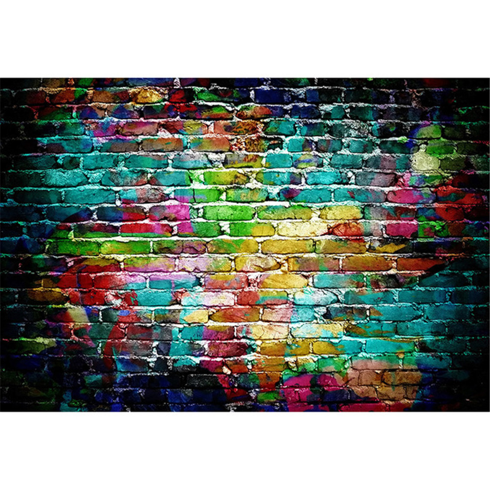 Colorful Painted Brick Wall Photography Backdrops Baby Newborn Photo Shoot Props Kids Children Photographic Studio Background 7x5ft vinyl photography background white brick wall for studio photo props photographic backdrops cloth 2 1mx1 5m