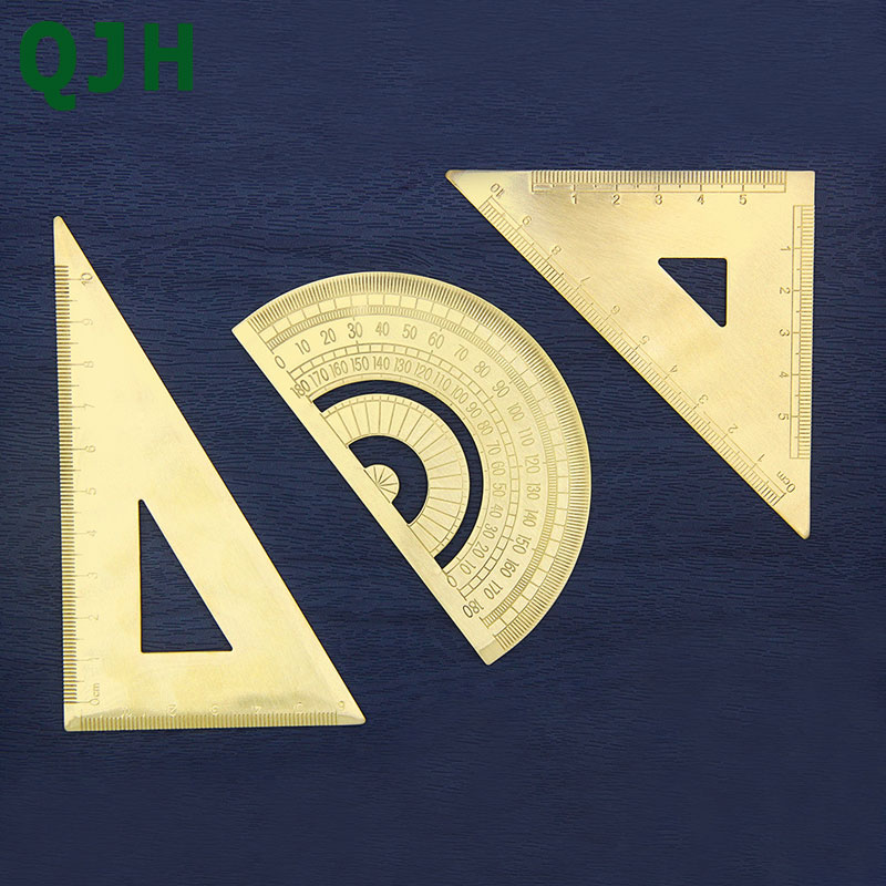 High Quality Brass Triangular Brass Ruler Graphometer Protractor Ruler Copper Bookmark Straight Ruler Sewing Leather Tools in Sewing Tools Accessory from Home Garden