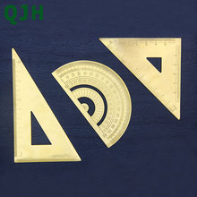 High Quality Brass Triangular Ruler Graphometer Protractor Copper Bookmark Straight Sewing Leather Tools