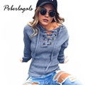 Winter New 2016 Fashion women Slim Sexy Lace Deep V-neck tops Sexy Club Punk Sweatshirts knitted women autumn  pullover