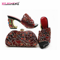Wine Color Nigerian Women Shoes and Bag to Match Comfortable Heels for Party Italian Ladies Matching Shoes and Bag Set