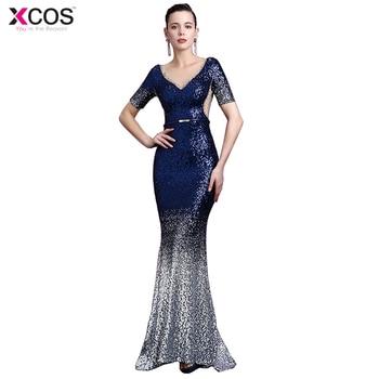 fd64e42a4 2019 elegante largo Ombre azul real lentejuelas vestido de noche vestido de  fiesta Sexy sin espalda bata longue vestidos de fiesta Formal vestido