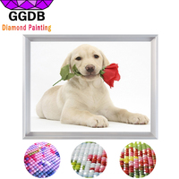 GGDB 5d Diy Diamond Painting Full Drill Resin Dog And Rose Europe Home Decoration Square Drawing
