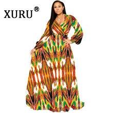 XURU 2019 autumn new chiffon long dress large size loose boho style womens printed S-3XL-5XL