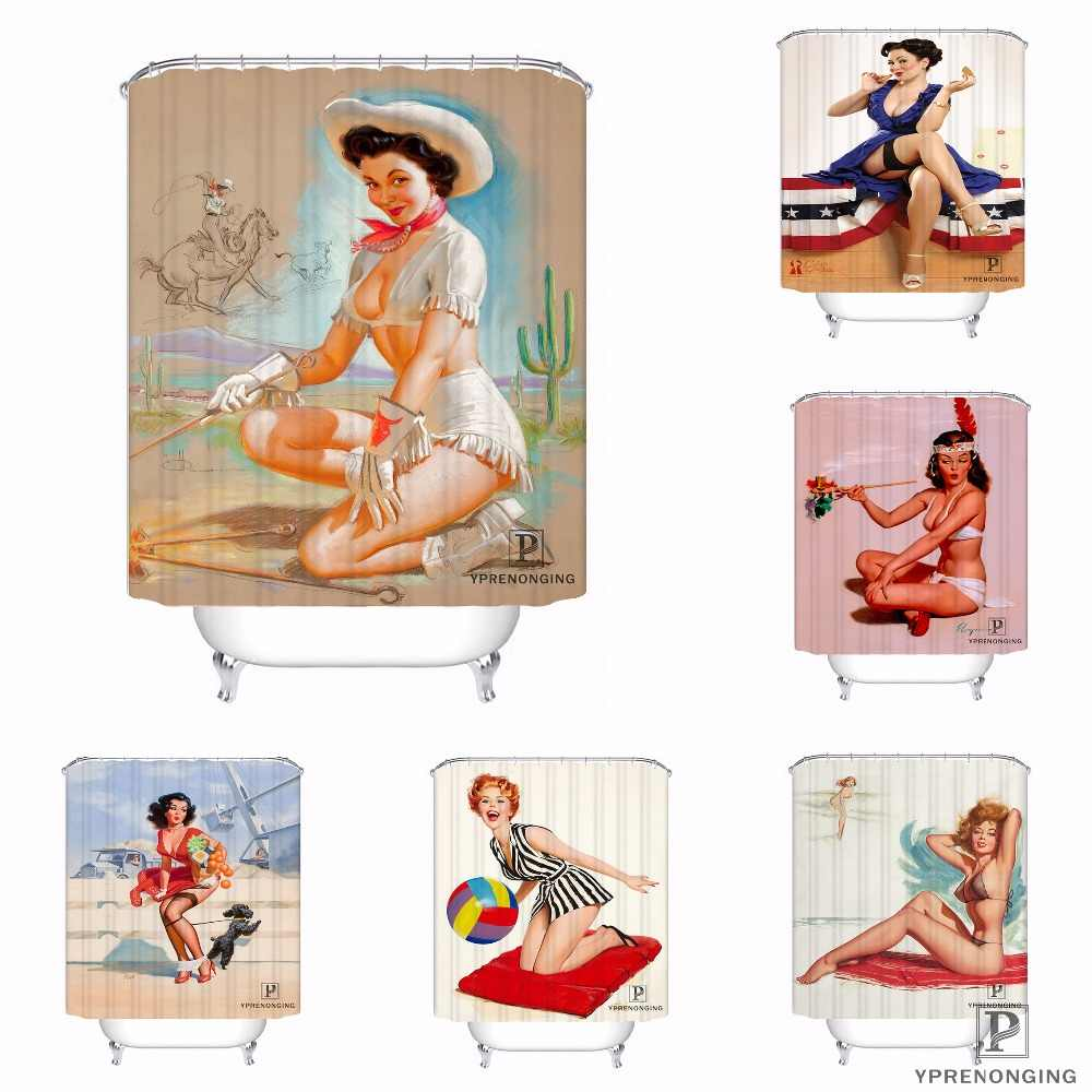 Custom Pin up Girl Dabble Waterproof Shower Curtain Home Bath Bathroom s Hooks Polyester Fabric Multi Sizes#0421-sohu-39