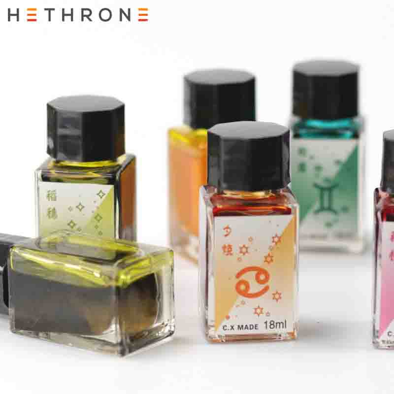 Hethrone Colorful Smooth Writing Fountain Pen Ink Bottled Glitter Gold Powder Glass Pen Painting Pen Calligraphy Graffiti Ink