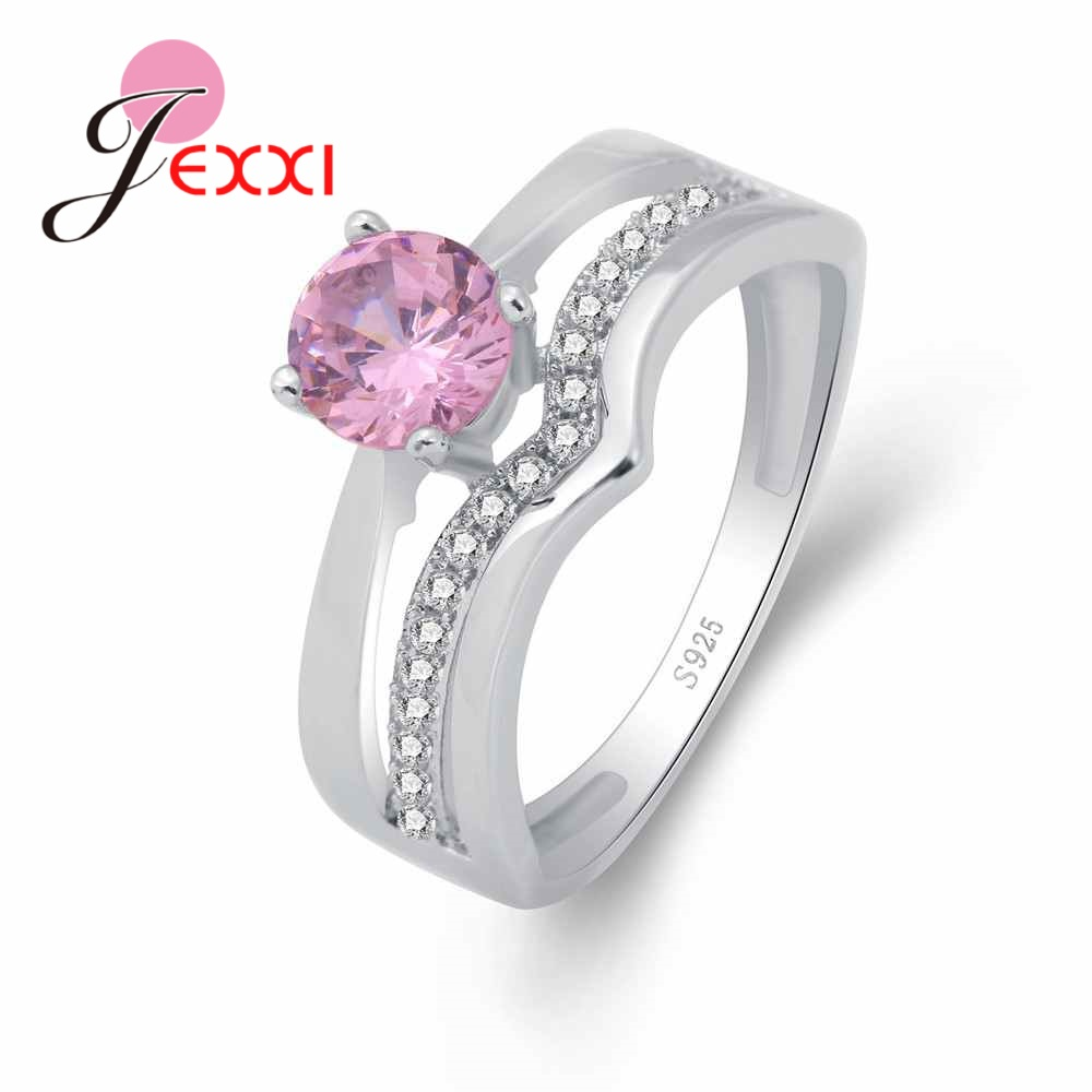 Sweet Pink Austrian Crystal Present For Women Girls Paved Jewelry Factory Price 925  Sterling Silver Ring High Quality