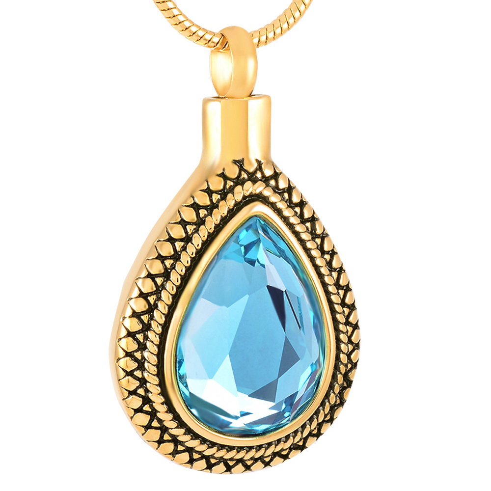 Elegant Ligh Blue Zircon Inlay Tear Drop Shape Memorial Jewelry Silver/Black/Golden Urns Pendant Urn Necklace CMJ9314