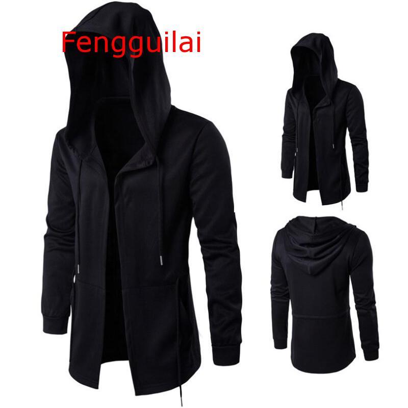 Hooded Jacket 2019 Autumn And Winter Windbreaker Cape Men Dark Long Cloak Hip Hop Mantle Outwear Moleton Long Sleeve Coat 5XL