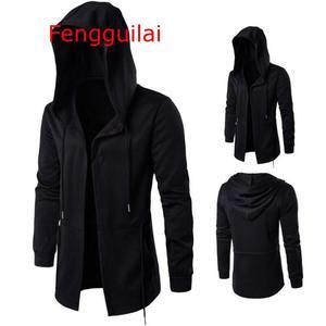 Image 1 - Hooded Jacket 2020 Autumn And Winter Windbreaker Cape Men Dark Long Cloak Hip Hop Mantle Outwear Moleton Long Sleeve Coat 5XL