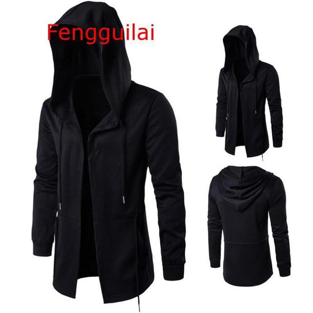 Hooded Jacket 2020 Autumn And Winter Windbreaker Cape Men Dark Long Cloak Hip Hop Mantle Outwear Moleton Long Sleeve Coat 5XL